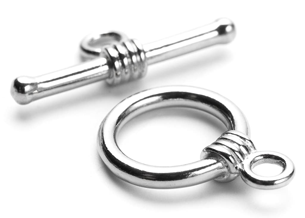 10mm Stainless Steel Silver Band Accent Toggle - 1 set