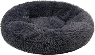 Dololoo Plush Donut Pet Bed for Small Dog and Cats, Cat Cushion Bed Nest Sleeping Bag, Round Warm Cuddler Kennel Soft Bed for Kitten and Small Dog(Diameter: 60cm, Dark Grey)