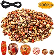 BcPowr 500PCS Printed Wooden Beads Mixed, Barrel Beads Various Shapes Elastic Beading Cord for Jewelry Making DIY Bracelet Necklace Hair Accessories Supplies Assorted