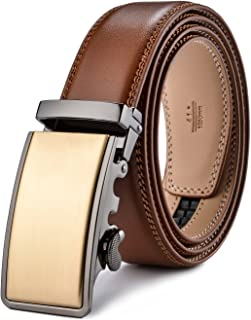 plyesxale Men's Leather Ratchet Dress Belt- Length is Adjustable - Delicate Gift Box