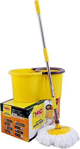 HIC Microfiber Spin Bucket Mop Set with Easy Wringer and Plastic Bucket for Magic Elegant 360 Degree Moving with Handle with Easy Cleaning Yellow