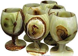 Lush Green Marble Onyx Wine Glasses, Stone Goblets - Set of 6