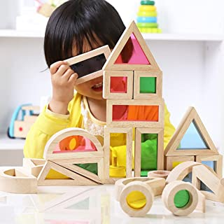 COODIO Kids Creative Acrylic Rainbow Building Blocks DIY Puzzle Wooden Stacking Tower Toys for Kids Gifts
