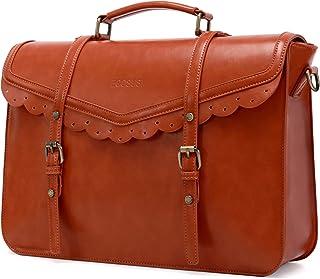 ECOSUSI Briefcase for Women Vegan Leather Laptop Bag 15.6 inch Messenger Bag for School Water Resistant Vintage Satchel Ba...