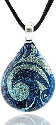 Chuvora Hand Blown Venetian Murano Glass Glitter Blue Sea Wave Teardrop Pendant Necklace, 17-19 inches