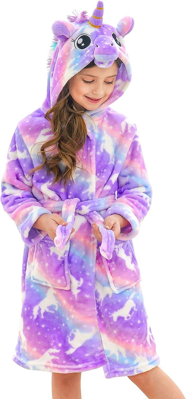 Doctor Unicorn Soft Unicorn Hooded Bathrobe for Girls Gifts: Clothing