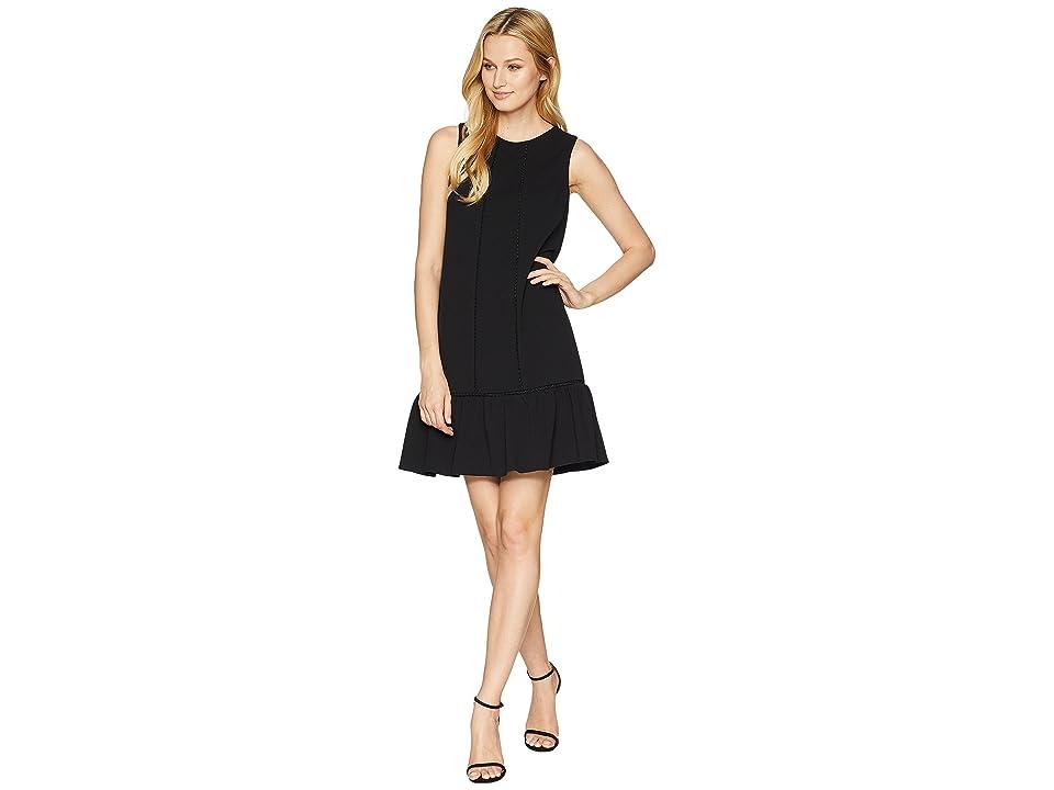 Adrianna Papell Knit Crepe Drop Waist Shift Dress (Black) Women