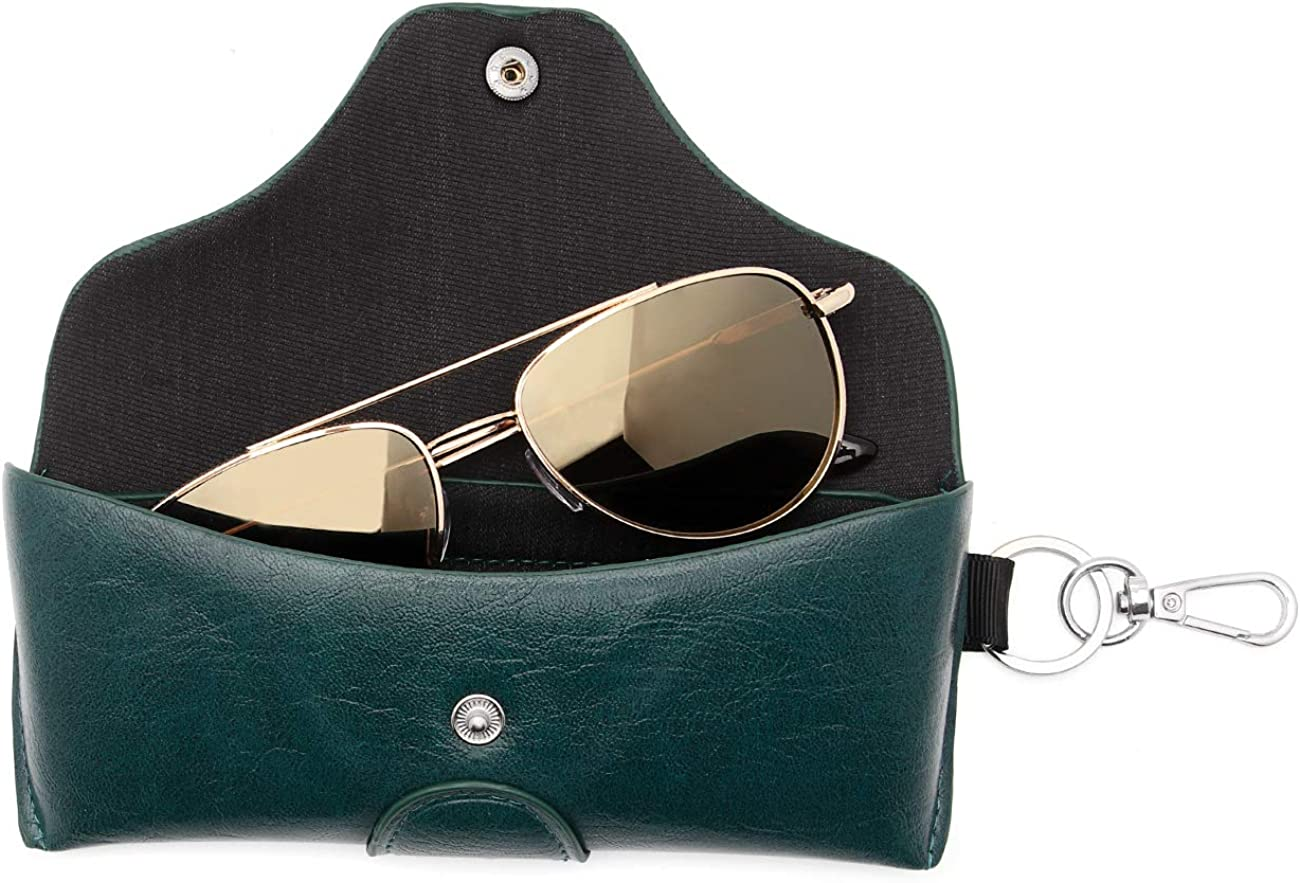 Face Shadow PU Leather Glasses Case Por Austin Mall with Belt excellence Hole Semihard