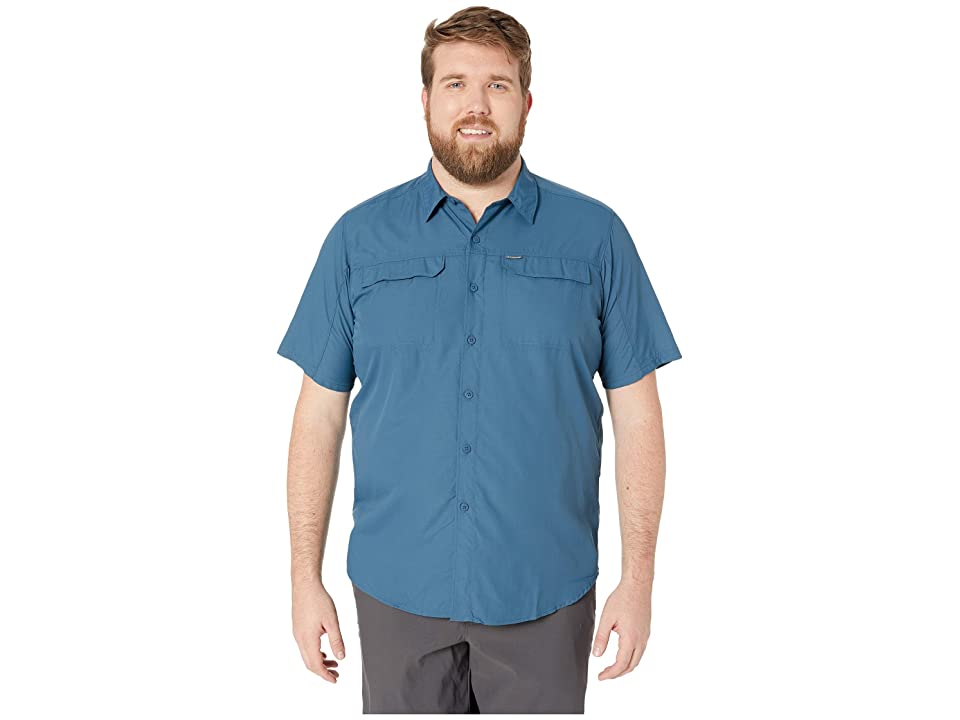 Image of Columbia Big and Tall Silver Ridge 2.0 Short Sleeve Shirt (Petrol Blue) Men's Short Sleeve Button Up