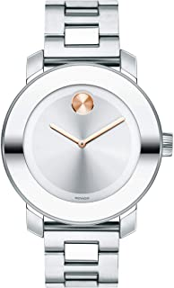 Movado Womens Bold Iconic Metal Watch with a Flat Dot Sunray Dial, Silver/Pink