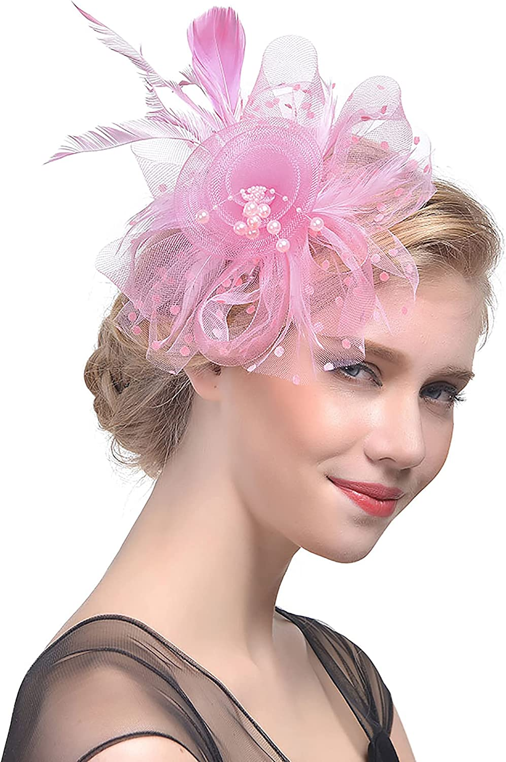 Fascinators-Hat Flower Mesh Ribbons Feathers on a Headband and a Clip Kentucky-Derby Tea-Party Wedding for Women Girls