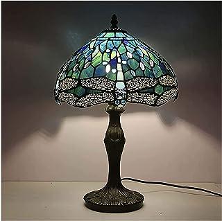 SHXITAYNB Lampe De Bureau Vintage LED Enfant, Libellule Abat Jour en Vitrail 12 Pouces Lampe Art Deco Chambre pour Salle É...