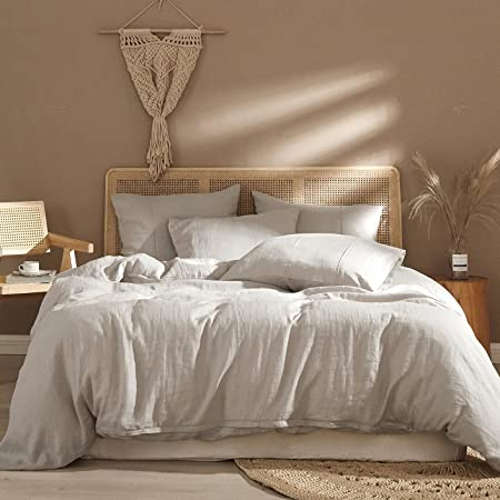 Ivellow Pure Linen Duvet Cover 100% Washed French Natural Linen Queen Duvet Cover Sets, 3 Pieces ( 1 Linen Duvet Cover Queen with 2 Pillowcases) Soft Breathable Moisture Wicking Flax Duvet Cover Queen