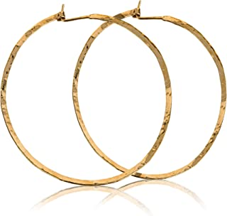 Pendientes de aro martillados 14k Aro grande con relleno de oro 2.5 pulgadas 65 mm Par de pendientes hechos a mano