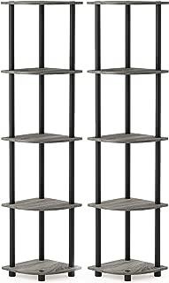 Furinno Turn-N-Tube 5 Tier Corner Display Rack 2 Pack, French Oak Grey/Black