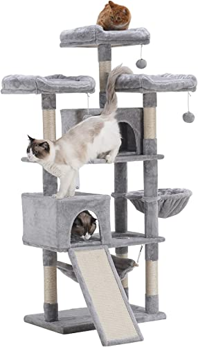 high quality Hey-brother online sale 63'' Multi-Level Cat Tree, King Cat online sale Condo with Cozy Perches, Stable Cat Tower Pet Play House online sale