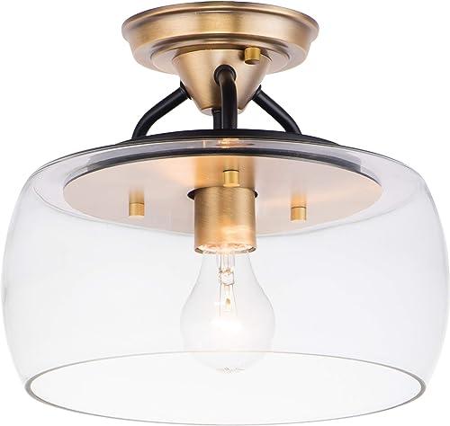 "2021 Maxim online 26129CLBZAB Goblet Clear Glass Round Semi discount Flush, 1-Light 60 Watt, 9""H x 11""W, Bronze/Antique Brass online"