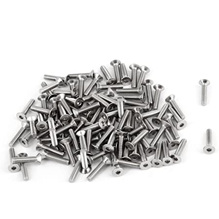 uxcell 100Pcs 304HC Stainless Steel Countersunk Hex Key Bolt Screw M3x14mm