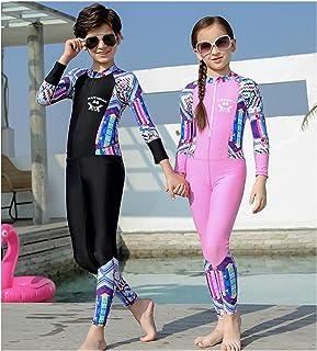 طفل فتى بنت ثوب سباحة طويل كم سروال تجف سريع واقي من الشمس قنديل البحر بدلة غوص 3XL 黑色