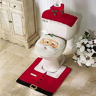1 Set (3 Pcs/Set) Christmas Santa Claus Seat Bathroom Mat Kids Anti Slip Textured Round Rubber Suction Stick Cups Absorbent Excelling Popular Vintage Hotel Large Washable Water Closet WC Bathtub Mats