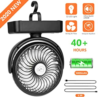 5000mAh Battery Camping Fan with LED Lights-40 Working...