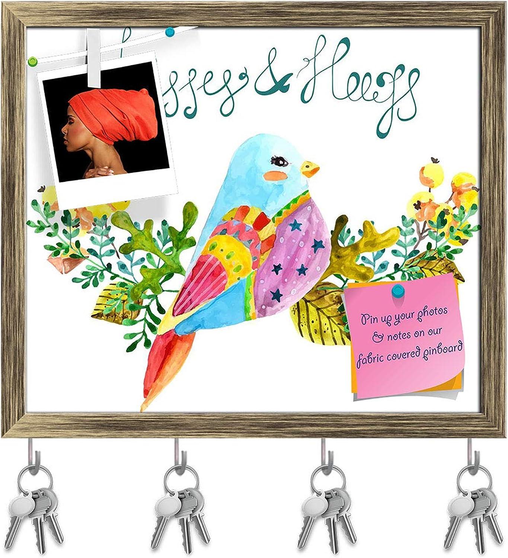 Artzfolio Bird & Flowers D2 Key Holder Hooks   Notice Pin Board   Antique golden Frame 18.6 X 16Inch