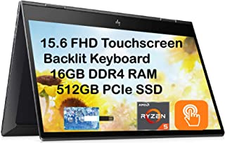 """2020 HP Envy x360 2in1 15.6"""" FHD Touchscreen Laptop Computer, AMD Ryzen 5 4500U 6 cores (up to 4GHz, Beat i5-9300H), 16GB ..."""