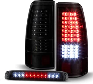 For 2003-2007 Chevy Silverado 1500 2500 3500 LED Tail Lights Housing & LED 3rd Brake Lamps [Smoked Lens]