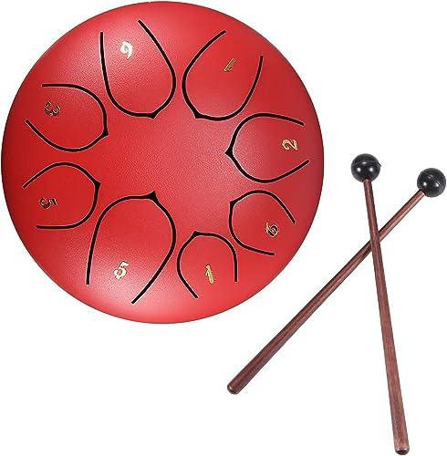 Konesky Mini Instrument à Percussion En Acier 6 Pouces Tambour De Langue à Main à 8 Sons Avec Sac De Transport Pour T...