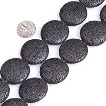 30mm Coin Gemstone Black Lava Rock Beads Strand 15 Inches Jewelry Making Beads