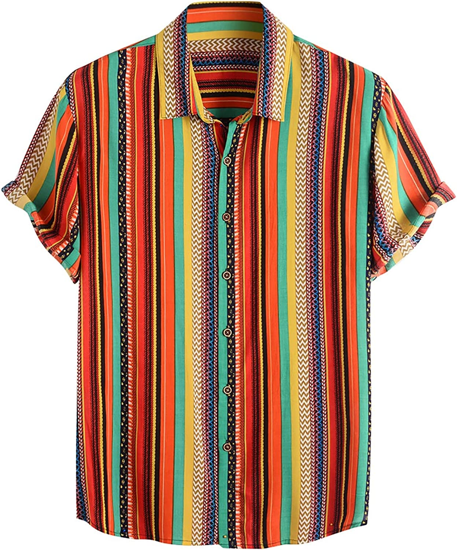 Wohelen Mens Hawaiian Shirts Summer Short Sleeve Button Down Shirts Funny Casual Stripe Beach Shirt with Pocket