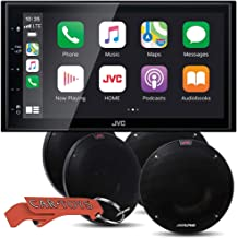 "JVC KW-M56BT Digital Media Receiver Car Music Lover's Bundle with Four Alpine R-S65.2 Premium Coaxial Speakers. Stereo w/ 6.8"" Touch Panel Compatible with Apple CarPlay & Android Auto + Bluetooth"