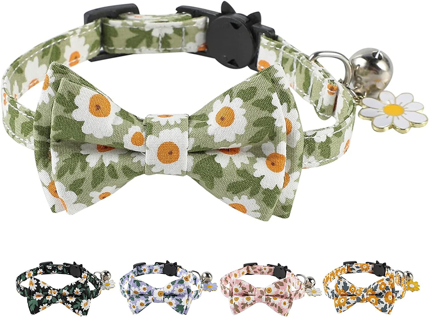 JOYPAWS Breakaway Cat Max 64% OFF Collar with Bow Bell and Cute shop Daisy F Tie