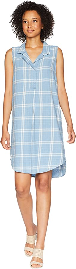 Stonewashed Plaid Sleeveless Collared Shirtdress