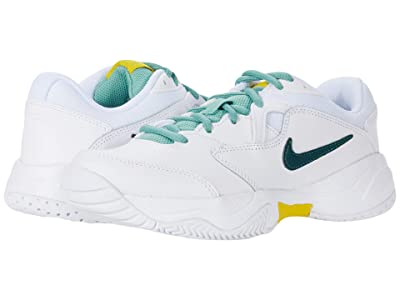 Nike Kids Court Jr. Lite 2 Tennis (Little Kid/Big Kid) (White/Dark Atomic Teal/Healing Jade) Kid