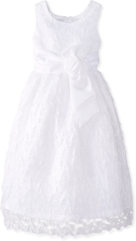 Jayne Copeland Big Girls' Geo Lace Dress with Rosette Bow At Waist