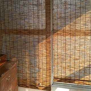 Geovne Persianas de Caña Cortina de Paja Rollo Bambú Ventanas,Estores de Bambú Estores Enrollables Romanas,Estor Enrollable de Bambú Natural,Adecuado para Puertas Y Ventanas (60x90cm/24x36in)