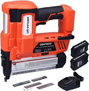 BHTOP Cordless Brad Nailer &Stapler 2 in 1 18Ga Heavy Finish Nail Gun With 18Volt 2Ah Lithium-ion Rechargeable Battery(Charger and Carrying Case) (2Batteries)