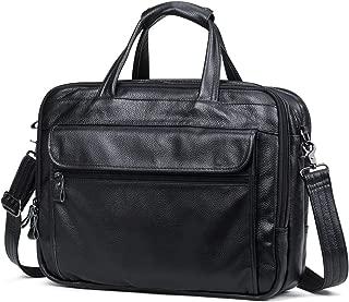 Luxury Travel Genuine Leather Hand Messenger Briefcase Brown Sling Office Business Shoulder Bag Mens Laptop Bag for 15.6 Inch (Color : Black, Size : S)