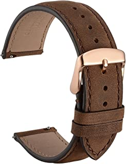 WOCCI 20mm Suede Vintage Leather Watch Band with Rose Gold Buckle, Quick Release Strap (Dark Brown with Tone on Tone Seam)
