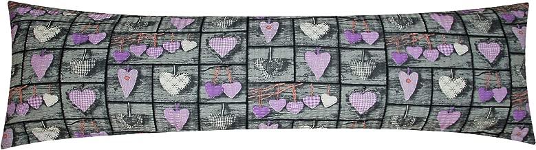 Love Herzen in Anthrazit und Wei/ß F-386-2 Heubergshop Winter Flanell Seitenschl/äferkissen Bezug 40x145cm 100/% Baumwolle Stillkissenbezug Weich und Warm