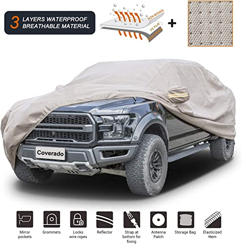 """new arrival Coverado Thick Shell Car Cover online sale Waterproof Windproof Snowproof All Season Weather-Proof Fit for Ford F150 Ram 1500 Chevy Silverado Toyota Tundra GMC Sierra Full Size Truck Length Up to outlet sale 252"""" online sale"""