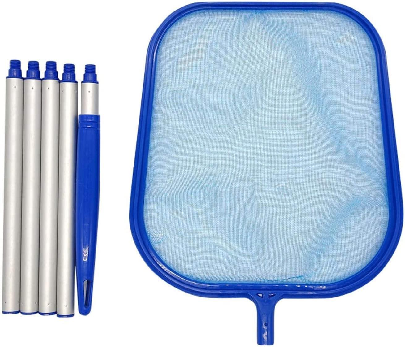 Barrefondos Piscina Manual Pool Skimmer Net con polo desmontable Piscina profesional Leake Rake Fine Mesh Pool Skimmer Net para piscina en el suelo y en el suelo, suministros de limpiador de piscina L