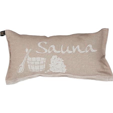 Jokipiin   1 coussin de sauna préféré Coussin de voyage   Design : Sauna   Dimensions : 40 x 22 cm, lin/coton   sans substances nocives Ökotex 100   Fabriqué en Finlande (beige/blanc)