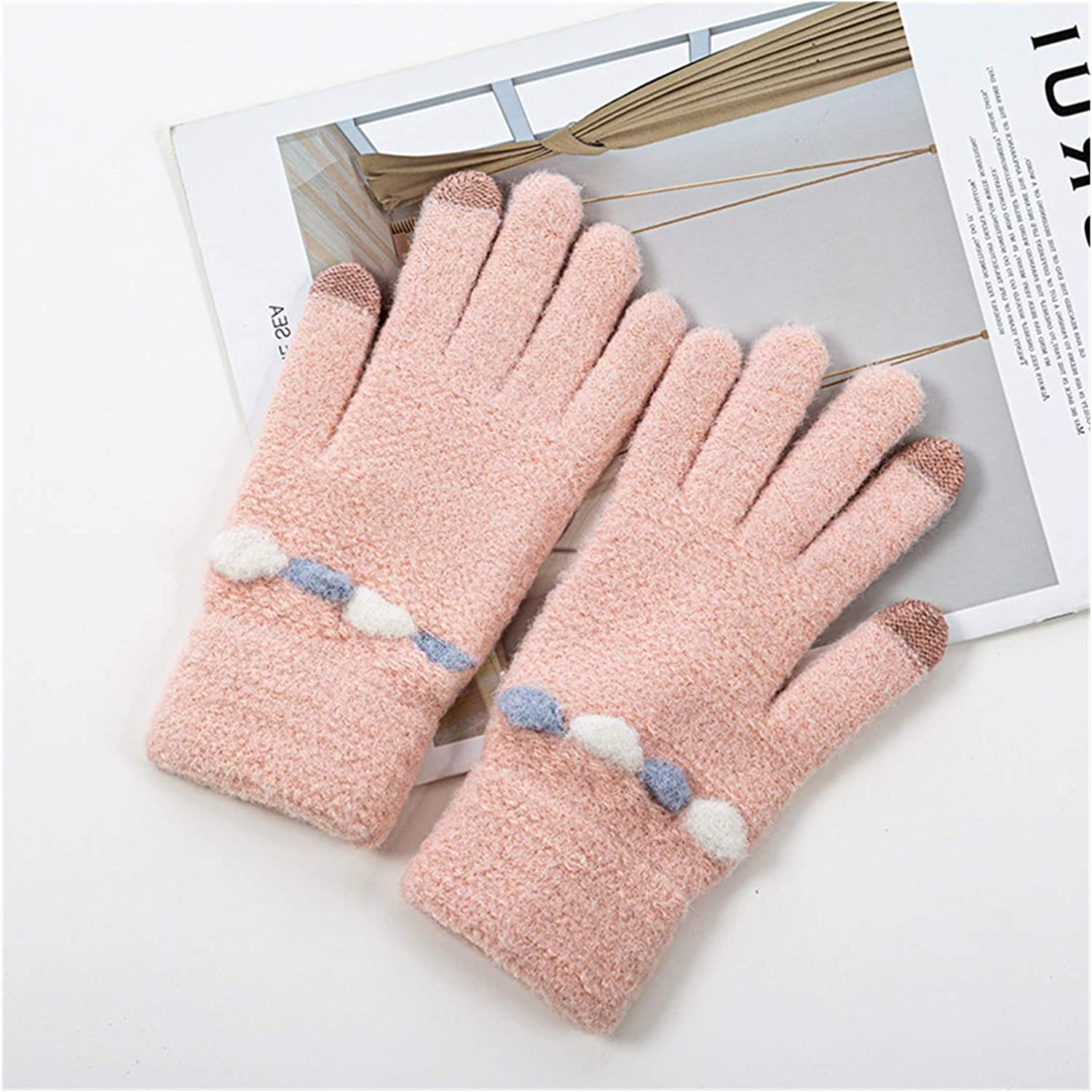 PENGYMY Winter Gloves Winter Knitted Gloves Women Fashion Knit Gloves Mittens Female Thick Plush Warm Wrist Driving Glove Wholesale (Color : Light Pink, Gloves Size : One Size)