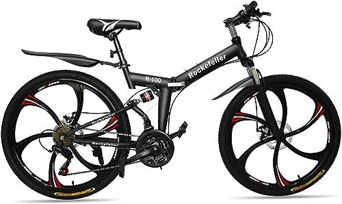 las mejores marcas venden barato Wyfdm Bicicleta Plegable Bicicleta de Montaña 6 Radios 21 21 21 Velocidad 700CC Brillante Doble Disco Freno Suspensión Tenedor Suspensión Trasera Antideslizante  ventas en linea