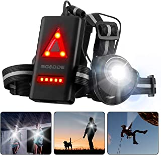 SGODDE Outdoor Night Running Lights, LED Chest Run Light with 500 Lumens 120° Adjustable Beam, Safety Back Warning with Rechargeable Battery for Camping, Hiking, Running, Jogging, Outdoor Adventure