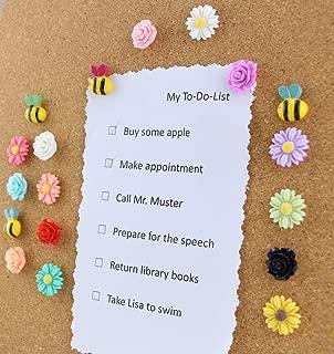 Yalis 24 Pcs Decorative Thumbtacks Colorful Floret and Bees Pushpins for Feature Wall, Whiteboard, Corkboard, Photo Wall