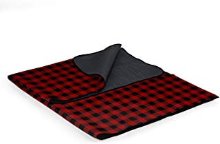 Picnic Time Outdoor Picnic Blanket Tote, Red/Black Buffalo Plaid