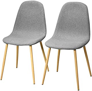 Giantex Set of 2 Kitchen Dining Chairs, Easily Assemble Modern Fabric Cushion Seat Chair..